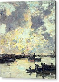 The Port Acrylic Print by Eugene Louis Boudin
