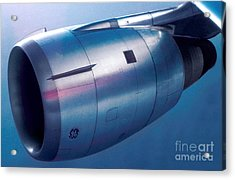 The Power Of Flight Jet Engine In Flight Acrylic Print by Wernher Krutein