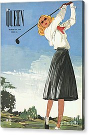 The Queen 1940s Uk Golf Womens Acrylic Print by The Advertising Archives