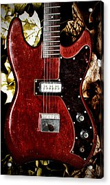 The Red Guitar Blues Acrylic Print by Bill Cannon