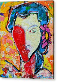 The Red Half Expressionist Girl Portrait  Acrylic Print by Ana Maria Edulescu