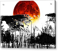 The Red Moon - Landscape Art By Sharon Cummings Acrylic Print by Sharon Cummings