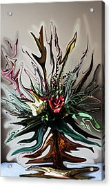 The Red Rose Acrylic Print by Ella Char