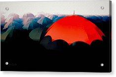 The Red Umbrella Acrylic Print by Bob Orsillo