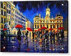 The Red Umbrellas Of Lyon Acrylic Print by Mona Edulesco