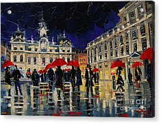 The Rendezvous Of Terreaux Square In Lyon Acrylic Print by Mona Edulesco