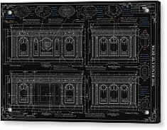 The Resolute Desk Blueprints- Black/white Line Acrylic Print by Kenneth Perez