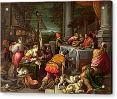 The Rich Man And Lazarus, 1590-95 Acrylic Print by Leandro da Ponte Bassano