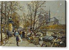 The Rive Gauche Paris With Notre Dame Beyond Acrylic Print by Eugene Galien-Laloue