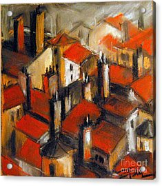 The Roofs Of Lyon Acrylic Print by Mona Edulesco