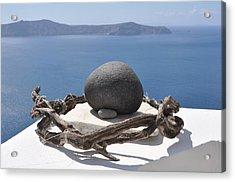 The Root Of Santorini Acrylic Print by Kathy Schumann