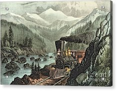 The Route To California Acrylic Print by Currier and Ives