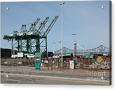 The San Francisco Oakland Bay Bridge Through The Port Of Oakland 5d22250 Acrylic Print by Wingsdomain Art and Photography