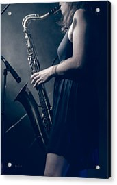 The Saxophonist Sounds In The Night Acrylic Print by Bob Orsillo