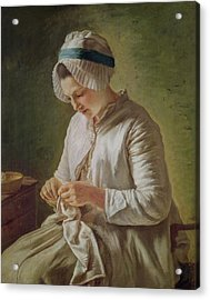 The Seamstress Or Young Woman Working Acrylic Print by Francoise Duparc