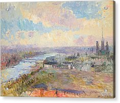 The Seine At Rouen Acrylic Print by Albert Charles Lebourg