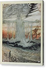 The Shipwrecked Man And The Sea, Illustration From Aesops Fables, Published By Heinemann, 1912 Acrylic Print by Arthur Rackham