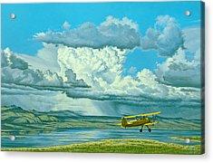 The Sky-stearman Biplane Acrylic Print by Paul Krapf