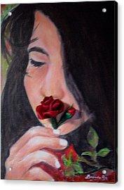 The Smell Of A Rose.. Acrylic Print by Brenda Almeida-Schwaar