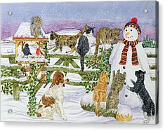 The Snowman And His Friends  Acrylic Print by Catherine Bradbury