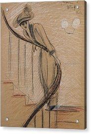 The Staircase Acrylic Print by Paul Cesar Helleu