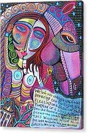 The Stallion And Ghost Goddess Acrylic Print by Sandra Silberzweig