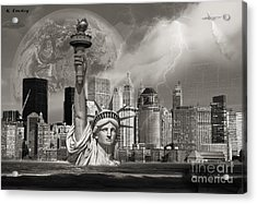 The Statue Of Sandy Acrylic Print by Karl Emsley