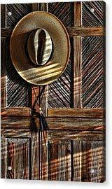 The Straw Hat Acrylic Print by Karen Slagle