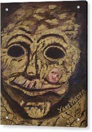 The Tattoed Mask Acrylic Print by Janis  Tafoya