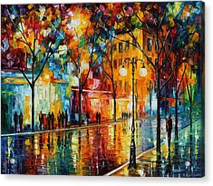 The Tears Of The Fall - Palette Knife Oil Painting On Canvas By Leonid Afremov Acrylic Print by Leonid Afremov