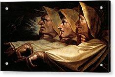 The Three Witches Acrylic Print by Johann Heinrich Fussli