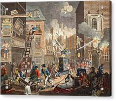 The Times, Plate I, Illustration Acrylic Print by William Hogarth