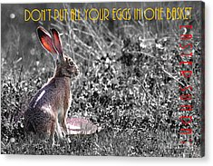 The Tortoise And The Hare Dont Put All Your Eggs In One Basket Easter Sunday 40d12379 Bw Acrylic Print by Wingsdomain Art and Photography