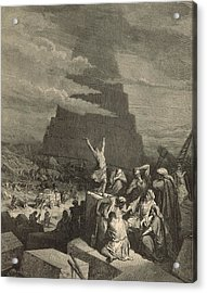 The Tower Of Babel Acrylic Print by Antique Engravings