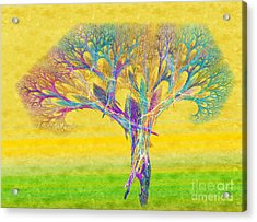 The Tree In Spring At Midday - Painterly - Abstract - Fractal Art Acrylic Print by Andee Design