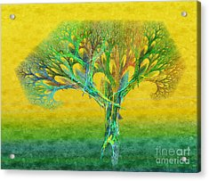 The Tree In Summer At Sunrise - Painterly - Abstract - Fractal Art Acrylic Print by Andee Design