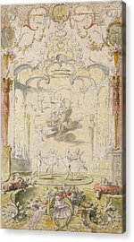 The Triumph Of Love Ink & Wc On Paper Acrylic Print by Claude Gillot