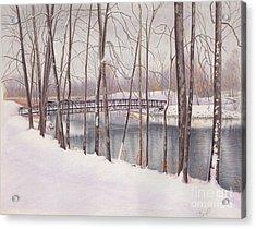 The Tulip Tree Bridge In Winter Acrylic Print by Elizabeth Dobbs