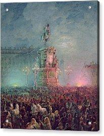 The Unveiling Of The Nicholas I Memorial In St. Petersburg Acrylic Print by Vasili Semenovich Sadovnikov