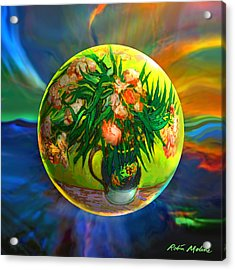 The Van Gloughing Vase Acrylic Print by Robin Moline