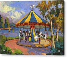 The Village Carousel At Lake Arrowhead Acrylic Print by Diane McClary