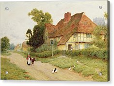 The Village Inn Acrylic Print by Arthur Claude Strachan