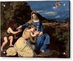 The Virgin And Child With Saints Acrylic Print by Titian