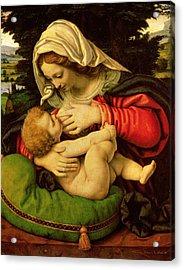 The Virgin Of The Green Cushion Acrylic Print by Andrea Solario