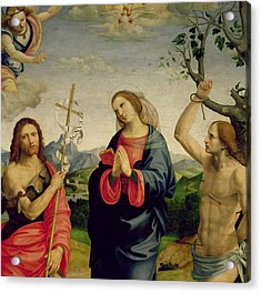 The Virgin With Saints Sebastian And John The Baptist Acrylic Print by Timoteo Viti