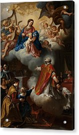 The Vision Of St. Philip Neri, 1721 Acrylic Print by Marco Benefial