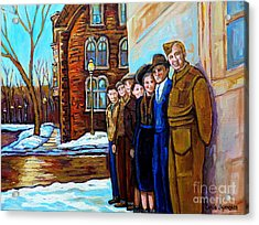 The War Years 1942 Montreal St Mathieu And De Maisonneuve Street Scene Canadian Art Carole Spandau Acrylic Print by Carole Spandau