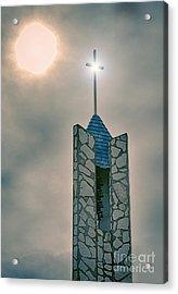The Wayfarers Chapel Steeple Acrylic Print by Donna Greene