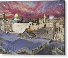 The Western Wall Acrylic Print by Yael Avi-Yonah