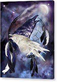 The White Raven Acrylic Print by Carol Cavalaris